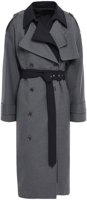 Rokh Layered Two-tone Gabardine Trench Coat