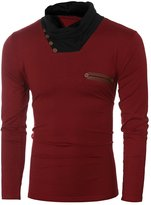 uxcell® Men Cowl Neck Long Sleeves Button Decor PU Panel Slim T-shirt S