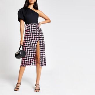 River Island Womens Pink dogtooth check midi skirt