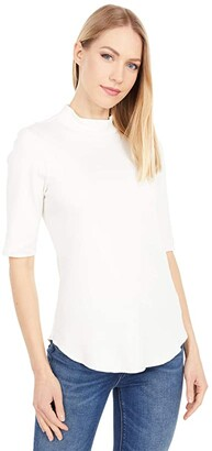 Lilla P Modern Classics Elbow Sleeve Mock Neck Tee (Winter White) Women's Clothing