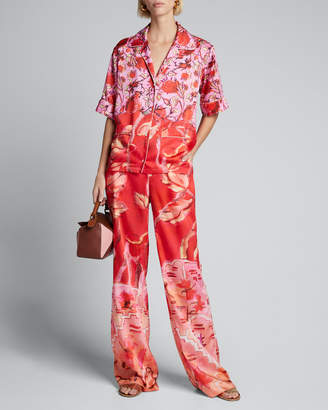 Peter Pilotto Floral Satin Short-Sleeve Pajama Top