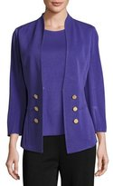 Misook 3/4-Sleeve Button-Front Jacket, Grape Royale, Plus Size