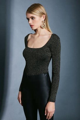 Karen Millen Sparkle Knit Rib Long Sleeve Square Neck Top