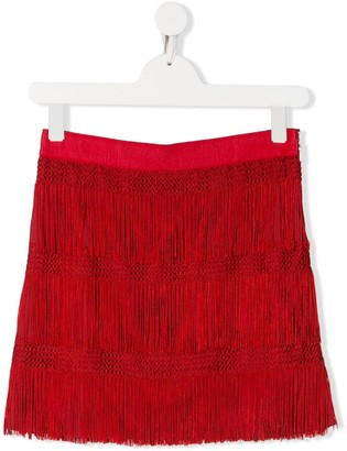 Alberta Ferretti Kids Fringed Contrast Panel Skirt