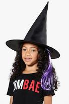 boohoo Womens Girls Witch Hat With Hair in Purple size One Size