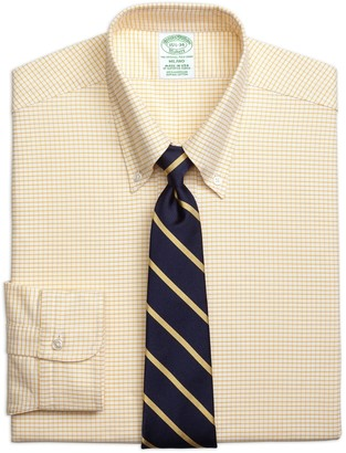 Brooks Brothers Original Polo Button-Down Oxford Milano Slim-Fit Dress Shirt, Small Windowpane