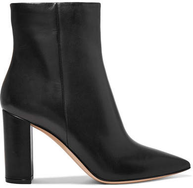 Gianvito Rossi 95 Leather Ankle Boots - Black