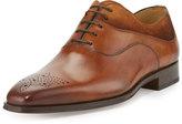 Magnanni Suede-Trim Leather Oxford, Cognac