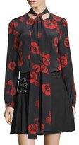 McQ by Alexander McQueen Floral Silk Satin Tie-Neck Blouse, Black/Red