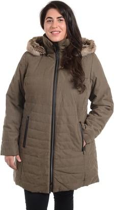 Fleet Street Plus Size Hooded Faux-Fur Microfiber Jacket