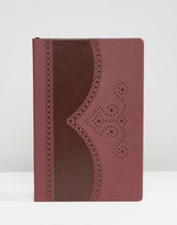 Ted Baker Brogue Notebook In Oxblood