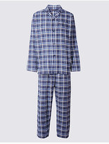 M&S Collection Pure Brushed Cotton Checked Pyjamas