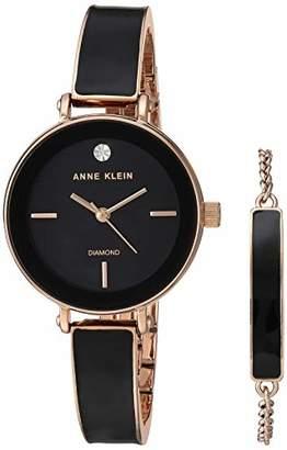 Anne Klein Women's Genuine Diamond Dial Rose Gold-Tone and Black Bangle Watch with Bracelet Set