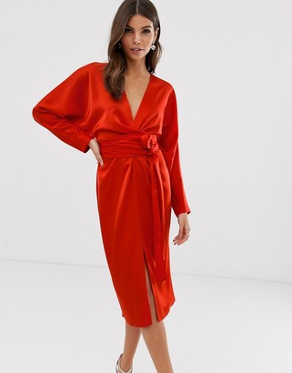 Asos Design DESIGN midi dress with batwing sleeve and wrap waist in satin-Red