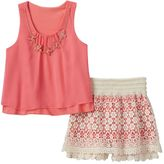 Beautees Girls 7-16 Floral Chiffon Tank & Lace Skort