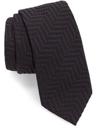Emporio Armani Herringbone Silk Blend Tie