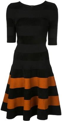 Oscar de la Renta striped skirt flared dress