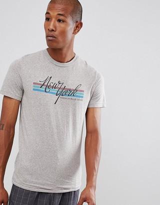 Jack and Jones crew neck t-shirt with vintage graphic pr-Grey