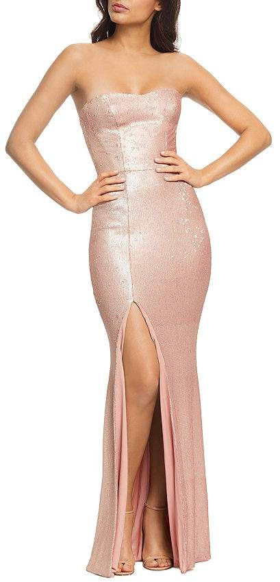 Dress the Population Ellen Sequined Strapless Gown