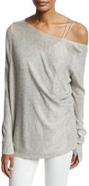 Halston Lightweight Wide Boat-Neck Asymmetric Sweater, Light Gray