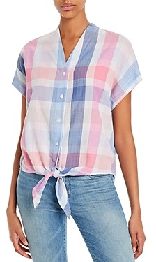 Tommy Bahama Plaid Tie-Front Shirt