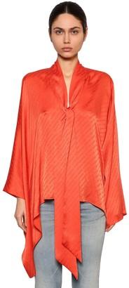 Balenciaga Draped Satin Jacquard Shirt