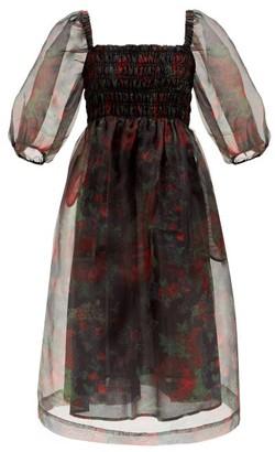 Ganni Floral-print Puff-sleeve Shirred Organza Dress - Black Red