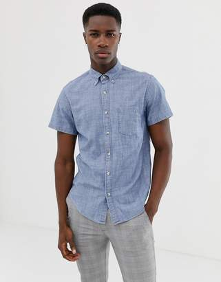 J.Crew Mercantile short sleeve stretch slim fit chambray shirt button down in blue