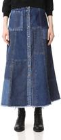 McQ by Alexander McQueen Alexander McQueen Patched A-Line Denim Skirt