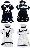 Unotux Baby Girl Toddler Sailor Nautical Party Occasion Navy Dress Outfit Sm