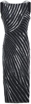 Rachel Gilbert Striped Sequined Tulle Dress