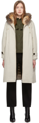 Yves Salomon Beige Down Integrated Parka