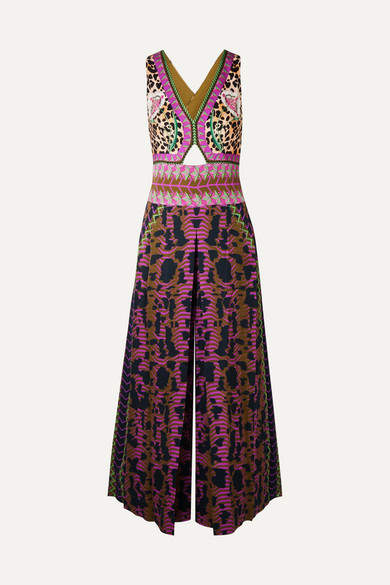 Temperley London Odyssey Cutout Printed Satin Jumpsuit - Purple