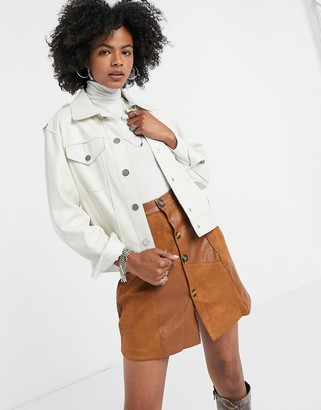 Lost Ink mini skirt in faux suede patchwork
