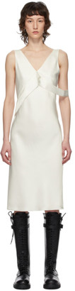Helmut Lang White Double Satin Sash Dress