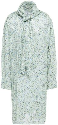 Acne Studios Tie-neck Fil Coupe Floral-jacquard Dress
