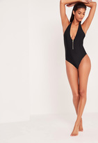 Missguided Zip Detail Deep Plunge Swimsuit Black