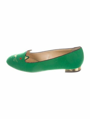 Charlotte Olympia Graphic Print Embroidered Accent Loafers Green