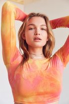 Silence & Noise Silence + Noise Orange Tie-Dye Cropped Top