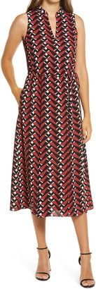 Anne Klein Sleeveless Drawstring Midi Dress