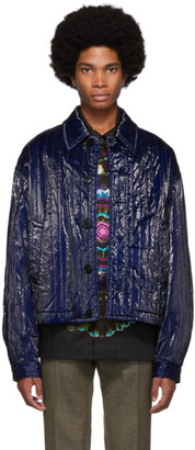 Dries Van Noten Blue Quilted Jacket