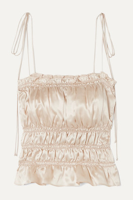 Reformation Viviana Ruffled Smocked Silk-charmeuse Top - Ivory