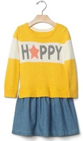Gap Mix-fabric intarsia dress