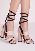 Missguided Contrast Ankle Tie Block Heel Sandals Nude