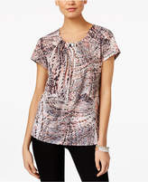 NY Collection Printed Hardware Blouse