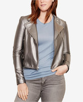Lauren Ralph Lauren Plus Size Metallic Leather Moto Jacket