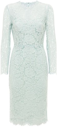 Dolce & Gabbana Fitted Cotton Blend Lace Midi Dress