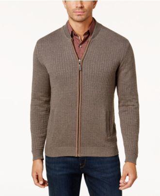 Tasso Elba Men's Textured Zip-Front Cardigan, Created for Macy's
