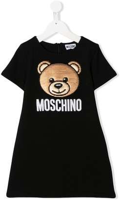 MOSCHINO BAMBINO sequin-embroidered T-shirt dress