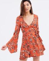 MinkPink Rust Roses Wrap Dress